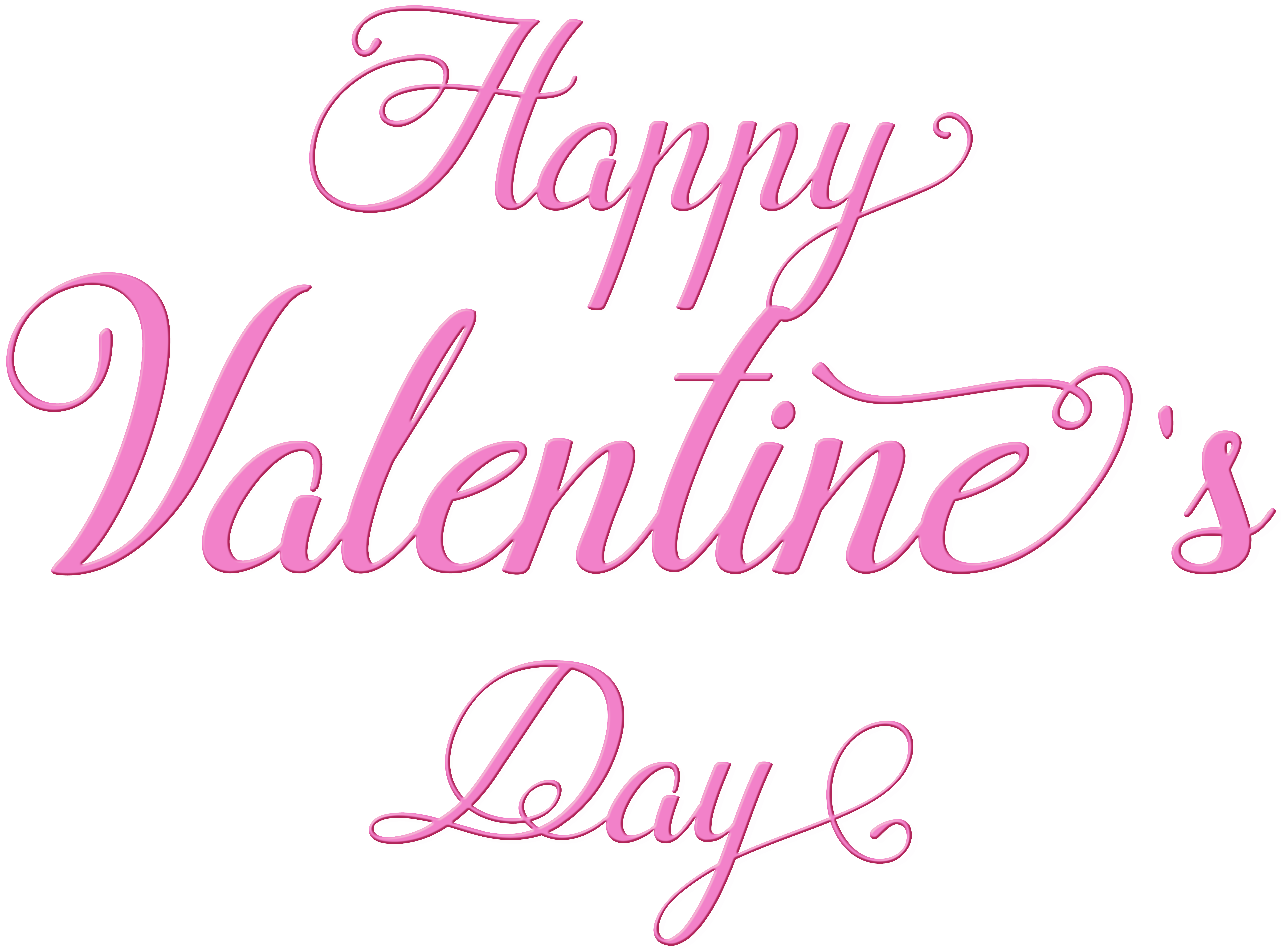 Happy Valentine\'s Day Pink Text Transparent PNG Image.