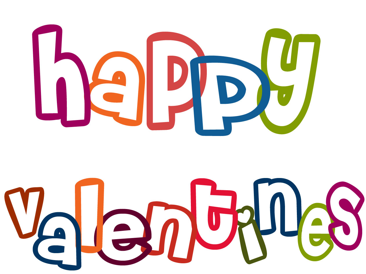 Happy Valentine Black And White Clipart.