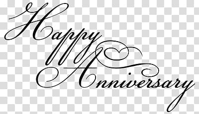 Happy Anniversary Black Writing transparent background PNG.