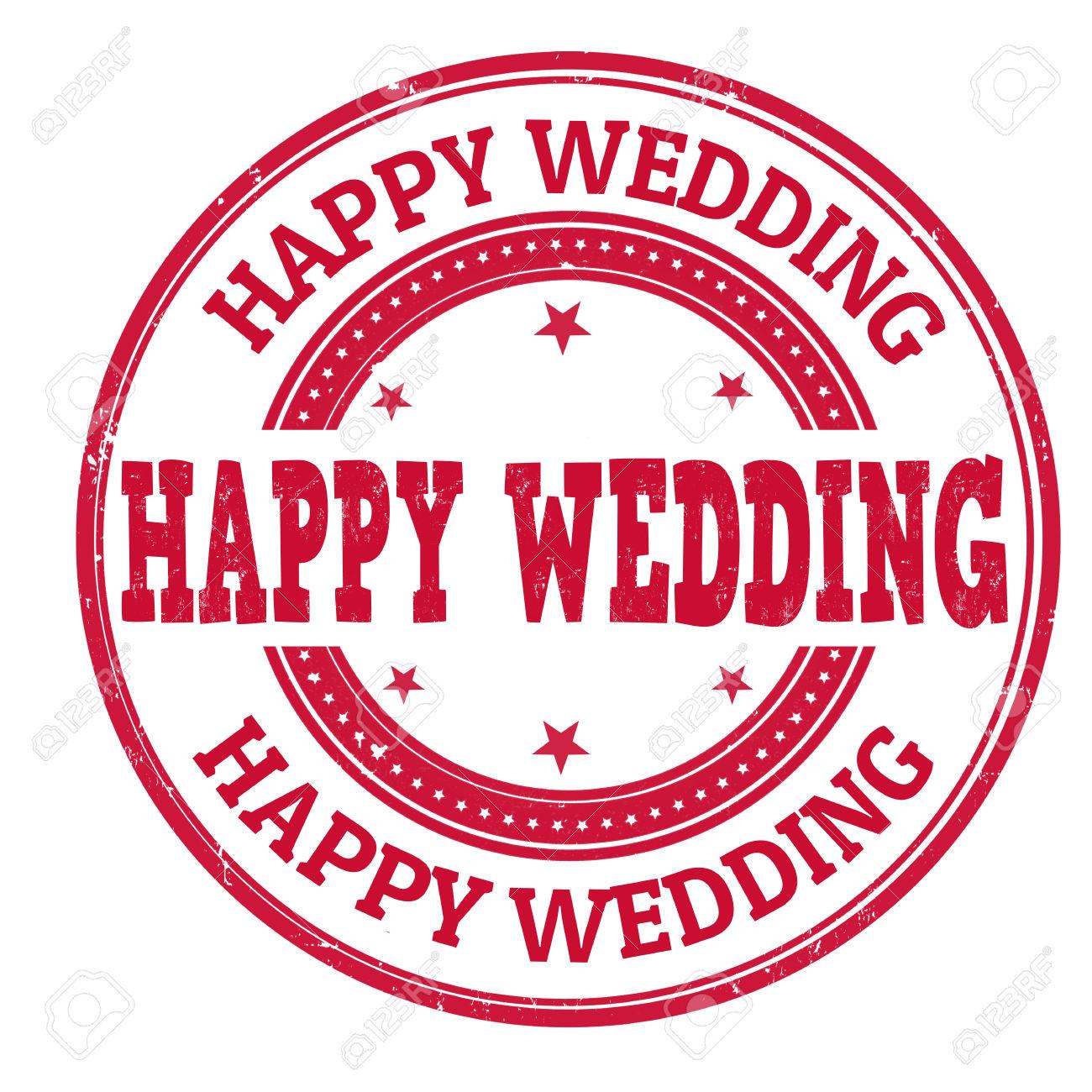 Happy Wedding Grunge Rubber Stamp On White, Vector Illustration.