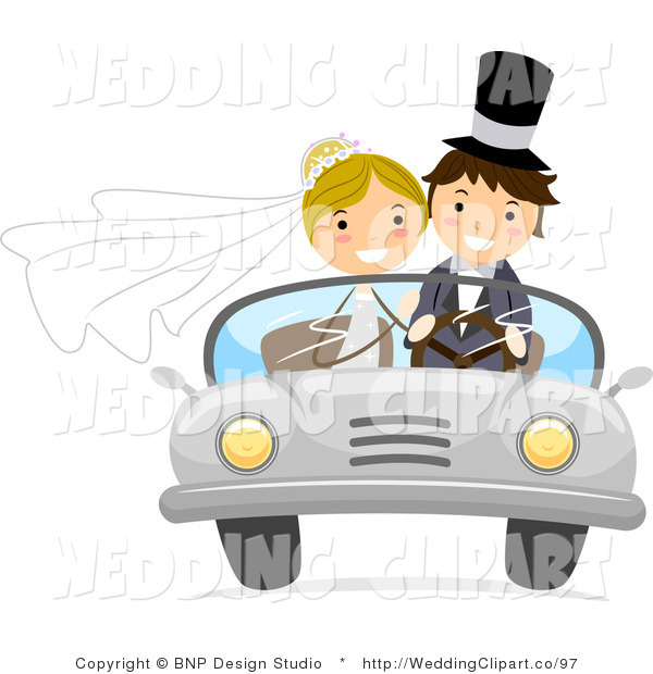 Vector Cartoon Marriage Clipart of a Happy Wedding Couple Driving.