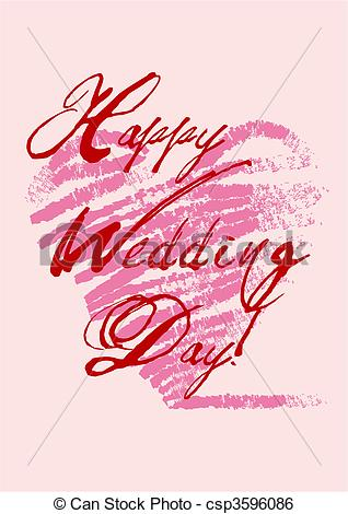 Clip Art Vector of happy wedding\\\'s day greeting card with.