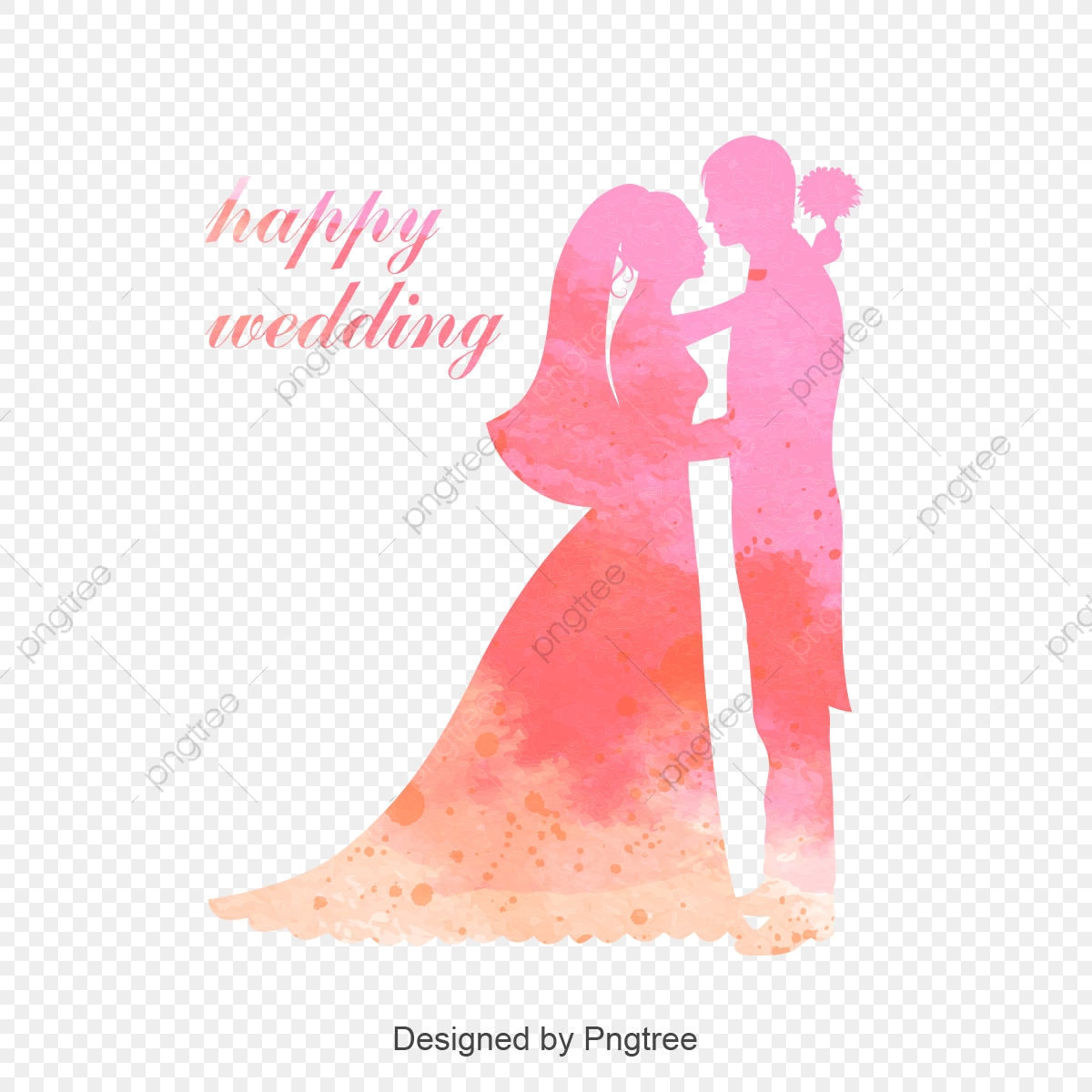 Happy Marriage Romantic Pink Background Material, Happy Wedding.