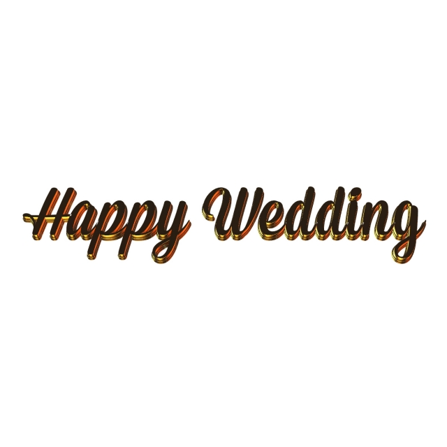 3d Happy Wedding Gold Art Font For Free Download.