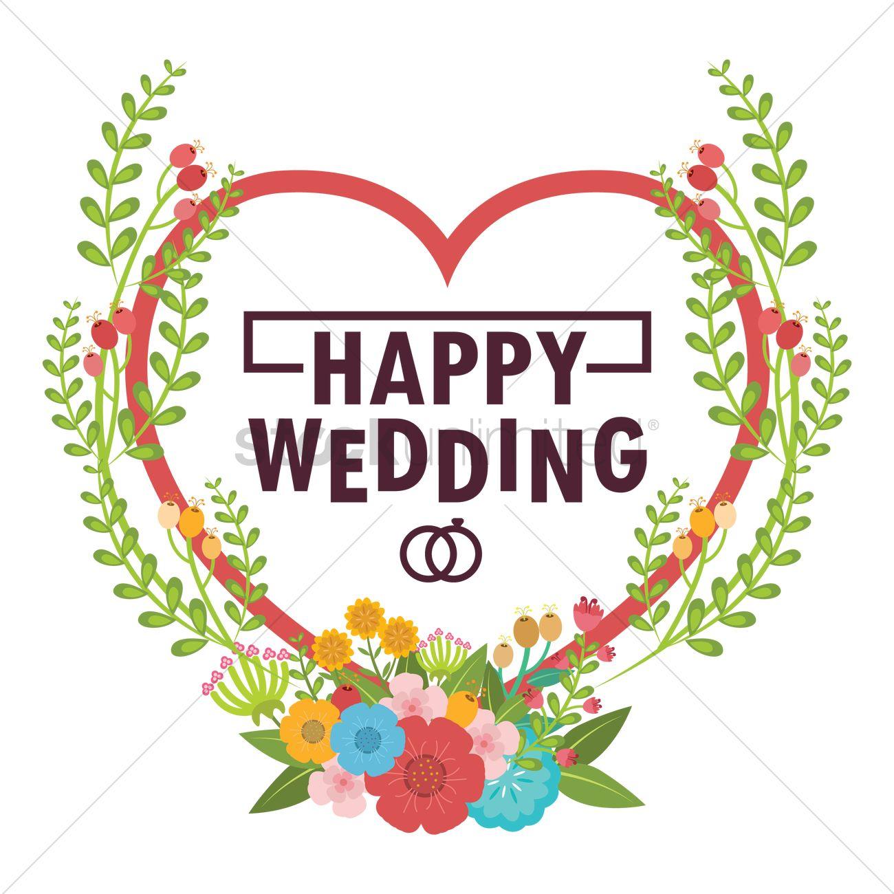 Happy wedding Vector Image.