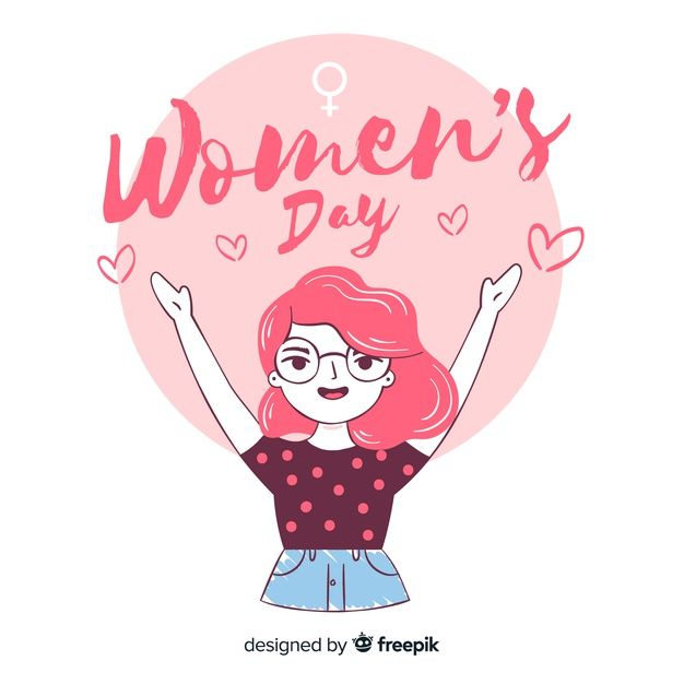 women\'s day free printable vector greeting card pink colors.