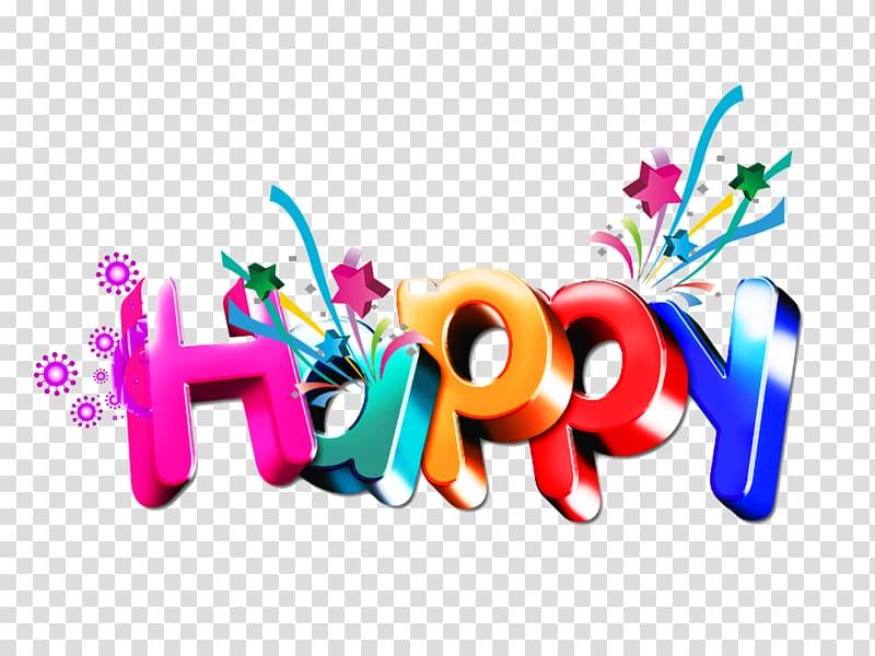 Happy text illustration, Word, happy Birthday transparent background.
