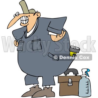 Free Vector Clip Art Illustration of a Happy Worker With A Tool.