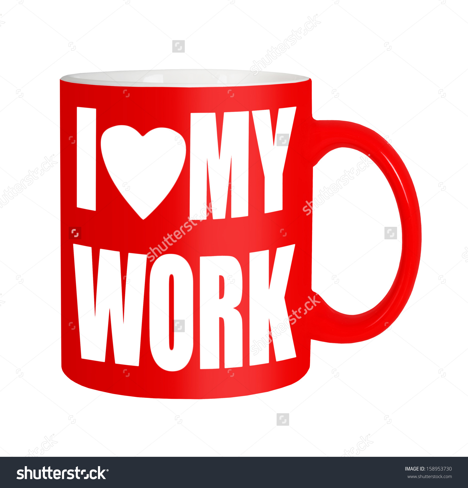 Love My Work Happy Workers Red Stock Photo 158953730.
