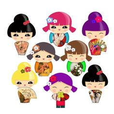 Japan y girl clipart.
