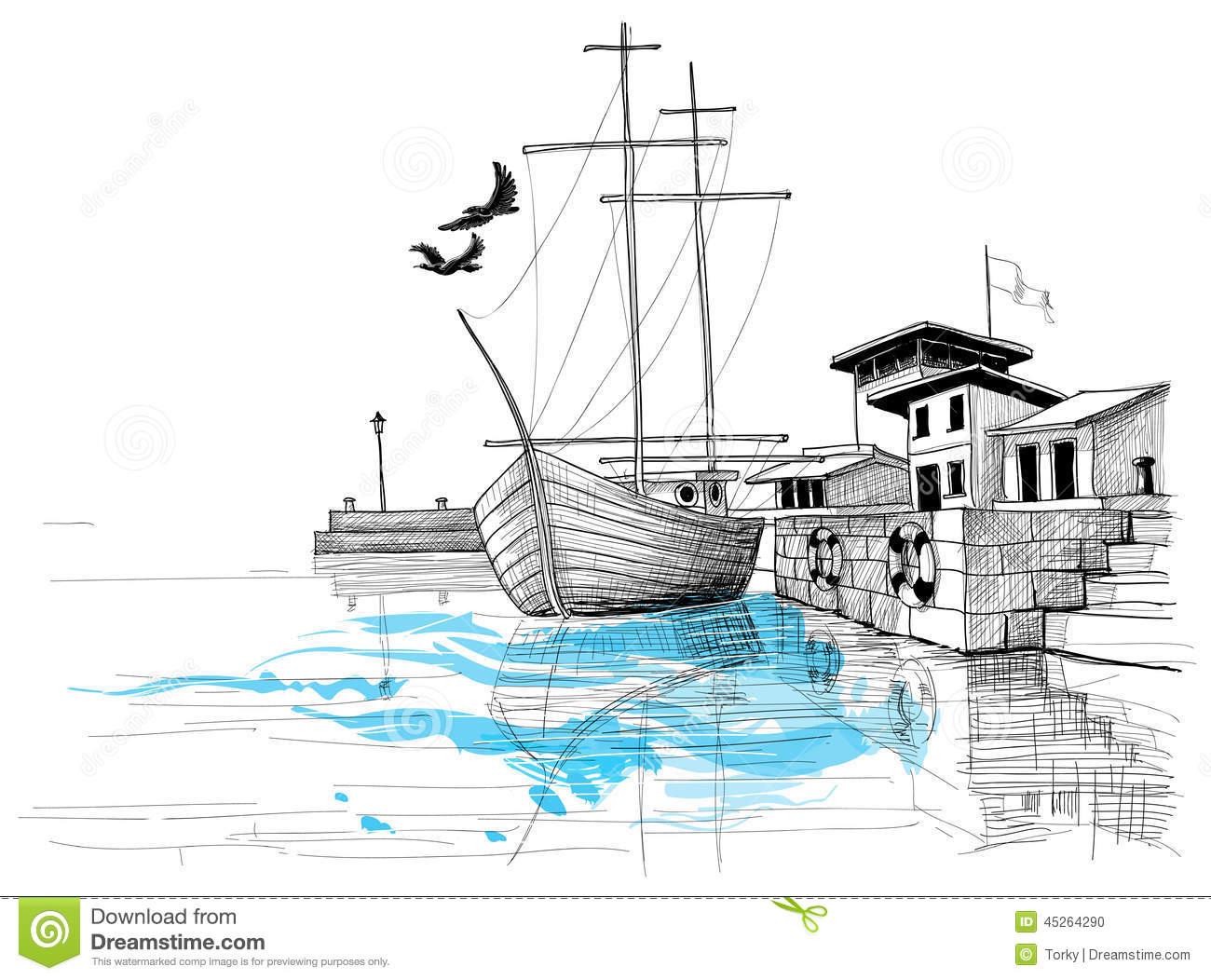 Harbor Sketch Stock Vector.