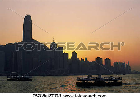 Pictures of China,Hong Kong,City Skyline and Victoria Harbour at.