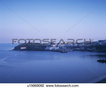 Stock Photo of Wales, Pembrokeshire/ Sir Benfro, Tenby. Tenby.