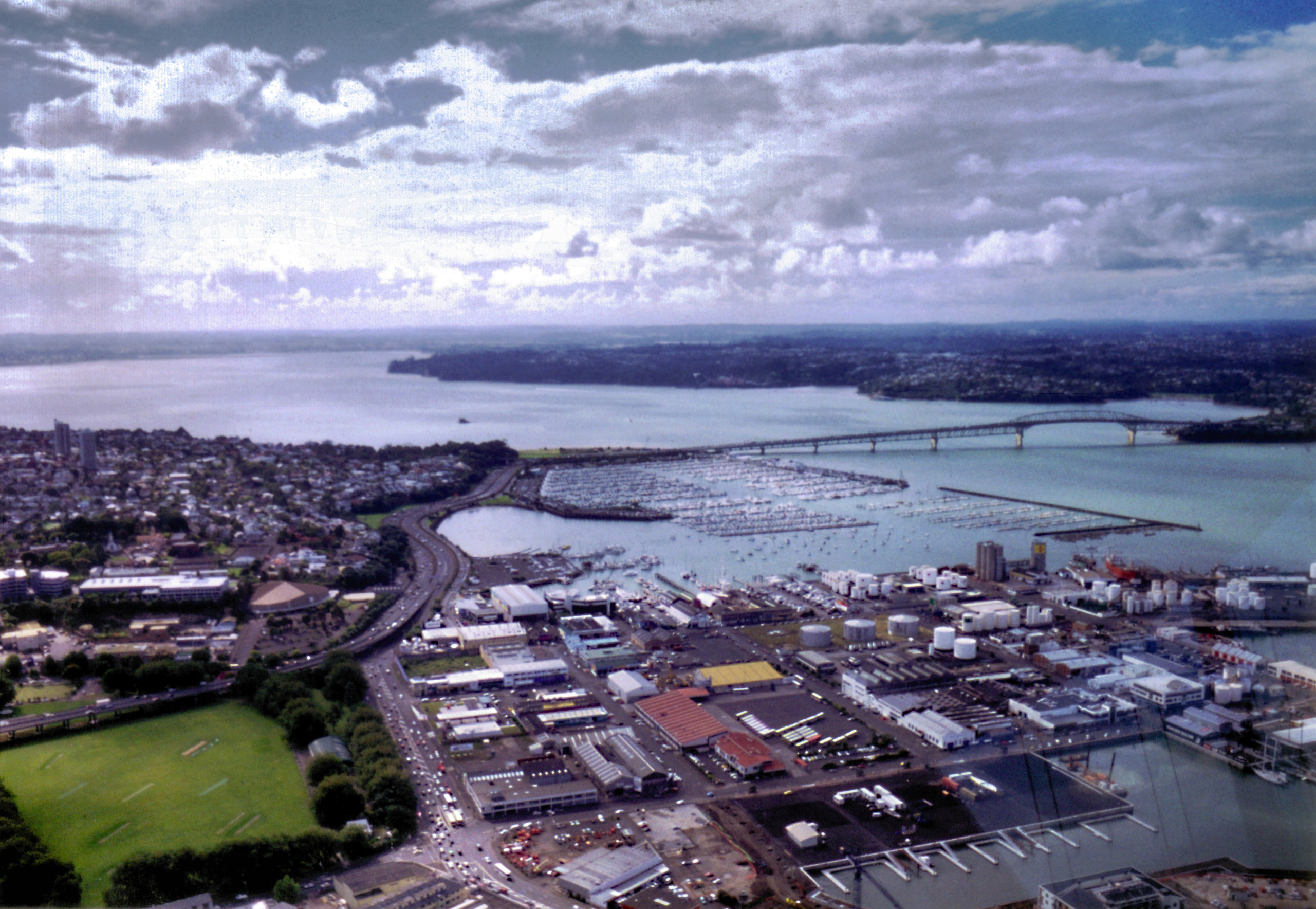 Auckland Harbour Landscape in New Zealand with clouds and sky.