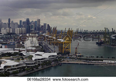 Stock Photo of Ariel view of Harbour city and ship yard with.