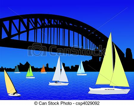 Clip Art of Yachts with Sydney skyline with harbour bridge.