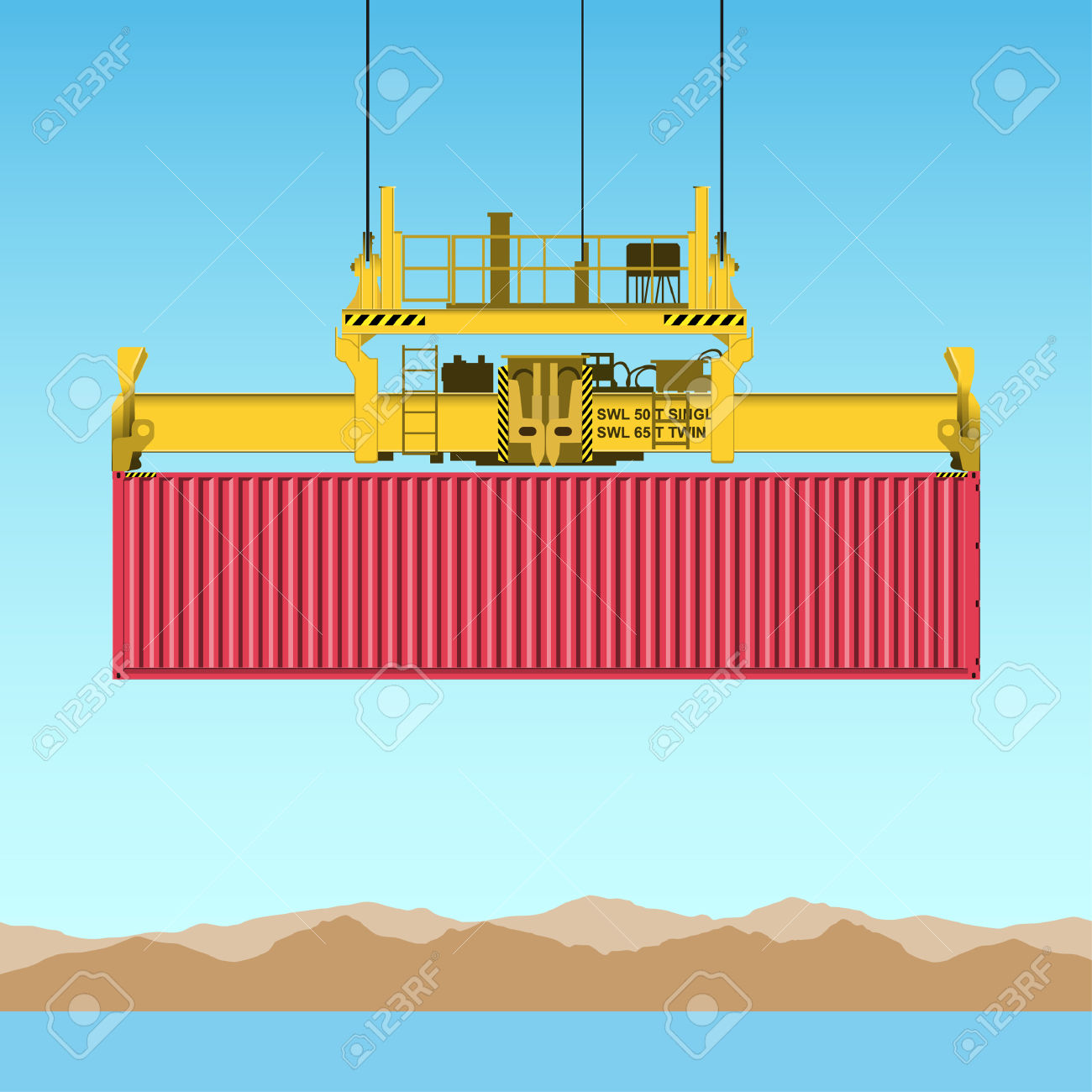 A Freight Containers On Crane At The Docks Royalty Free Cliparts.