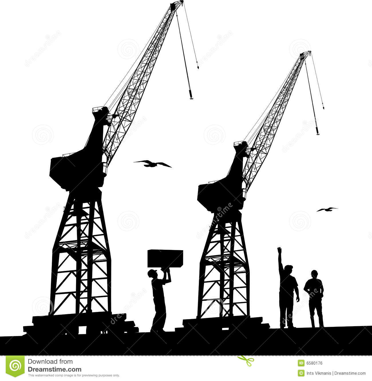 Harbour Cranes Royalty Free Stock Image.
