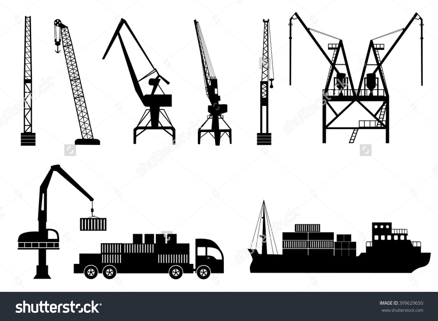 Silhouettes Loading Lifting Harbor Cranes Truck Stock Vector.