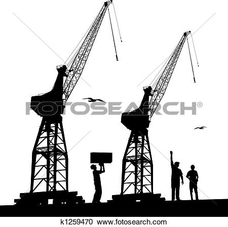 Stock Illustrations of Silhouette of harbour cranes k1259470.