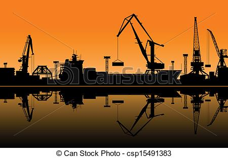 Vector of Working cranes in sea port for cargo industry design.