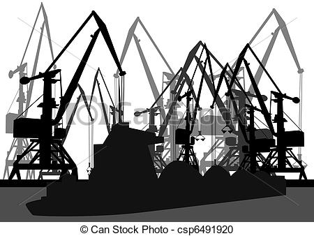 Vector Clipart of Port cranes and ships.
