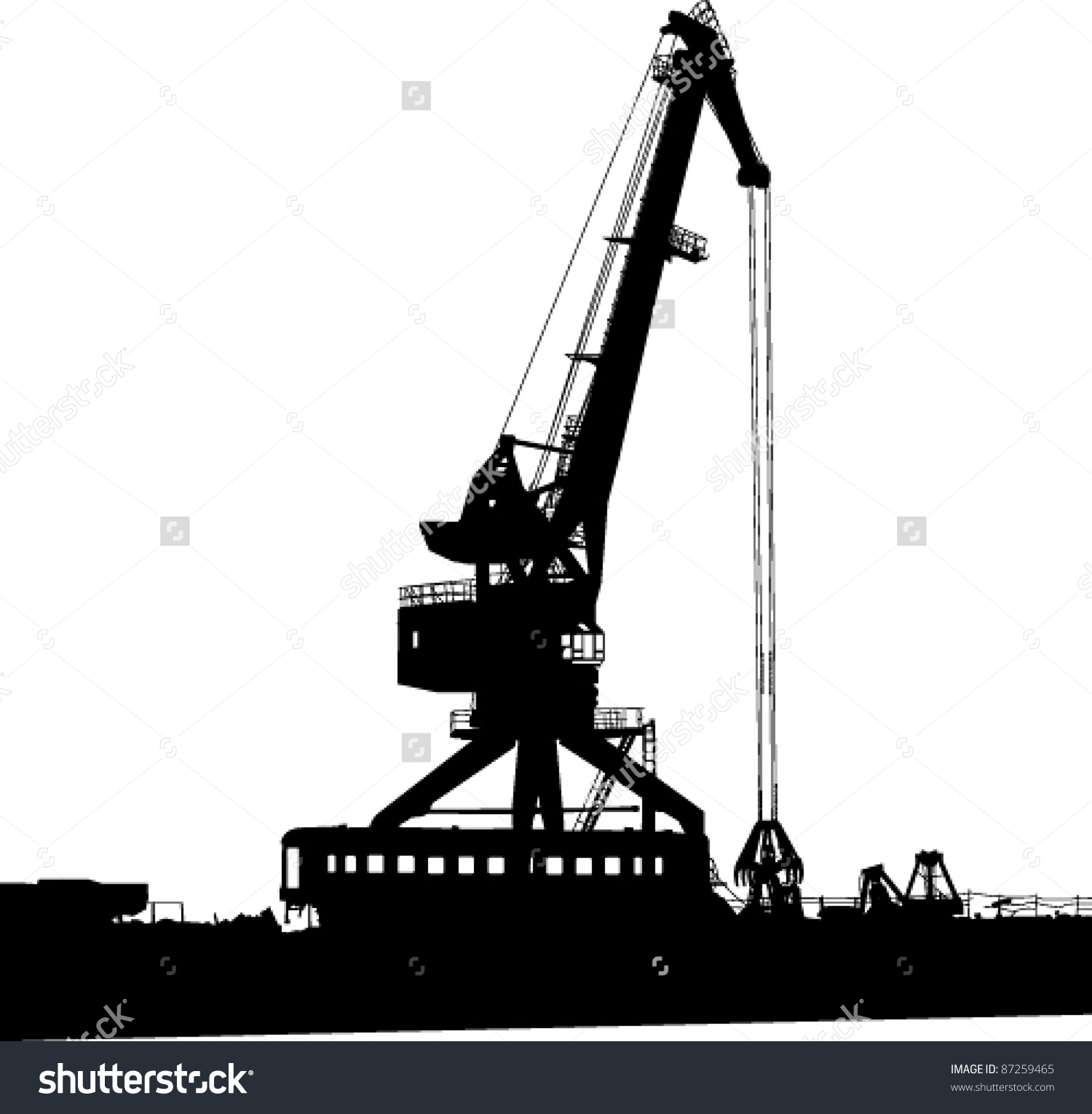 Silhouette Port Crane Stock Vector 87259465.