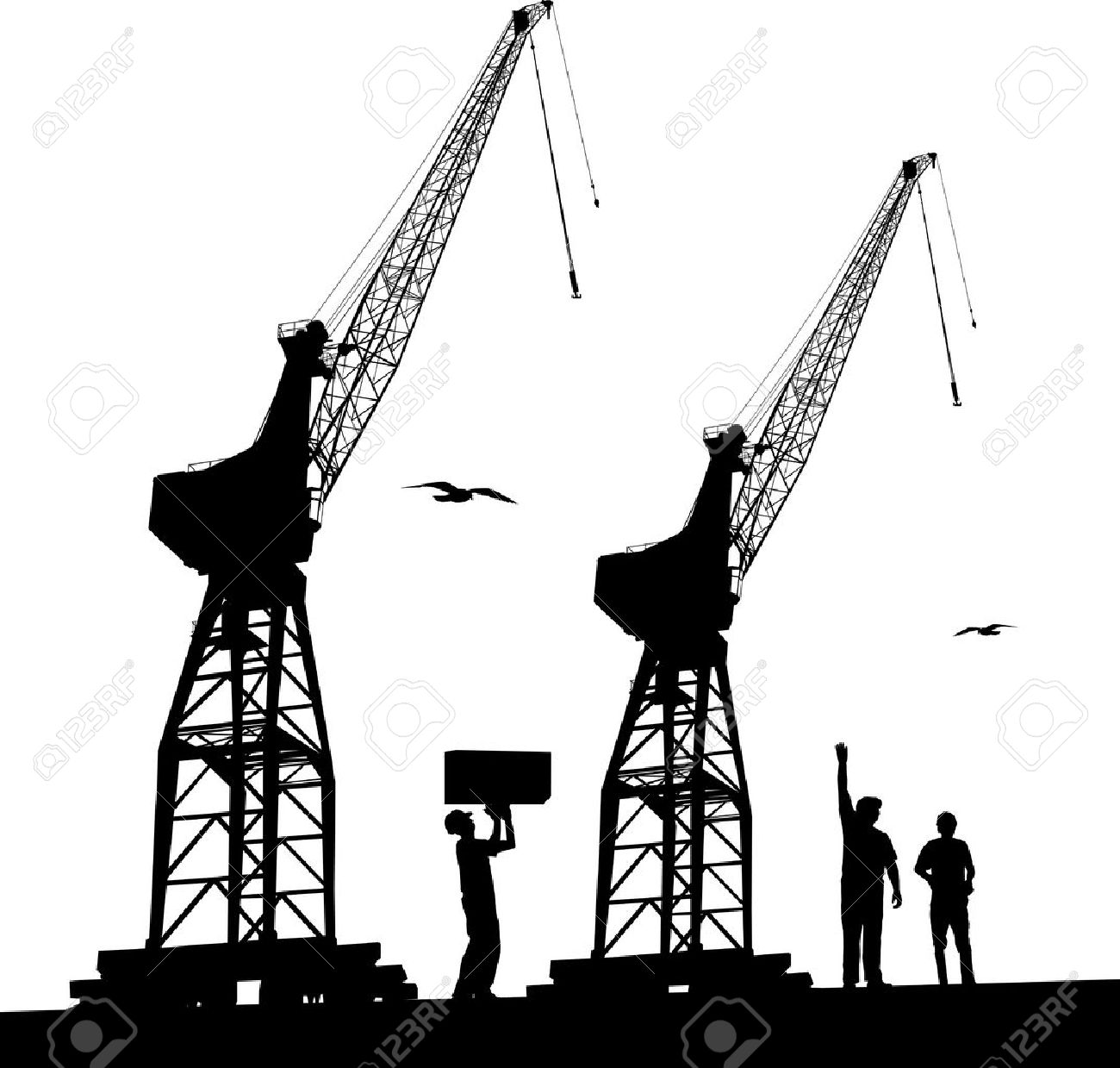 Silhouette Of Harbour Workers And Port Cranes Royalty Free.