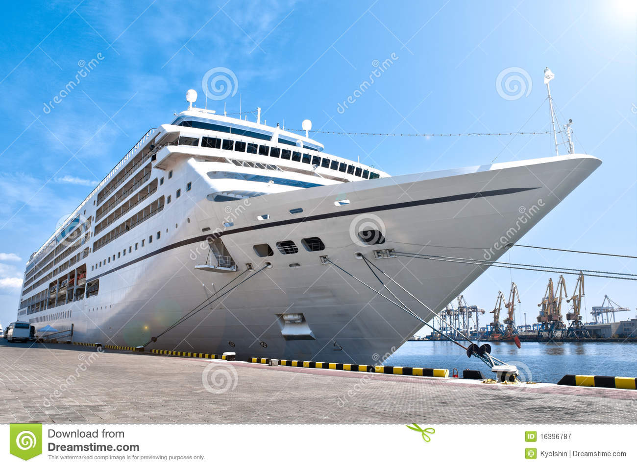 Beautiful Cruise Ship In Harbor Royalty Free Stock Photography.