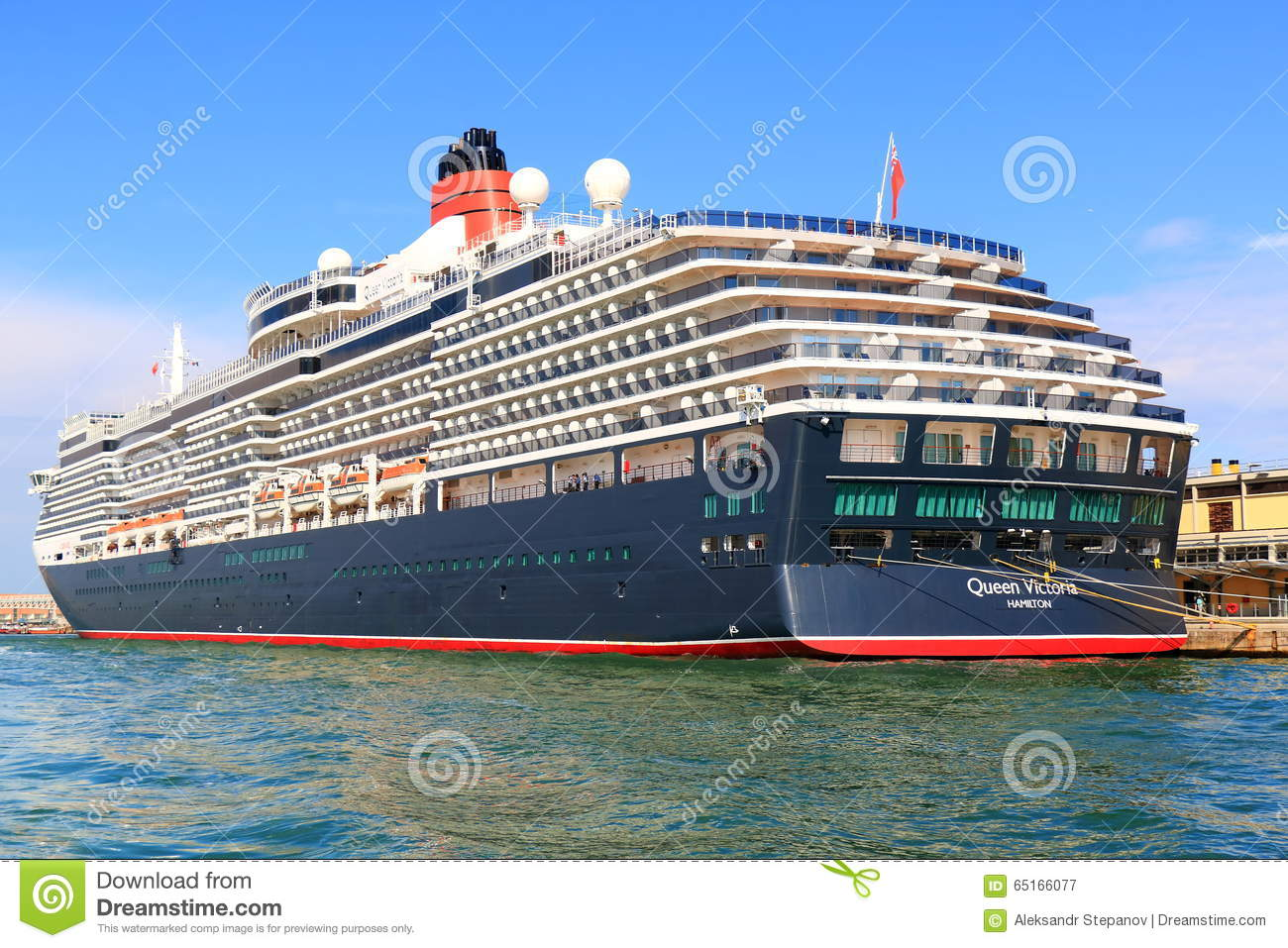 Moored Cruise Ship Queen Victoria In Port Of Venice, Italy.