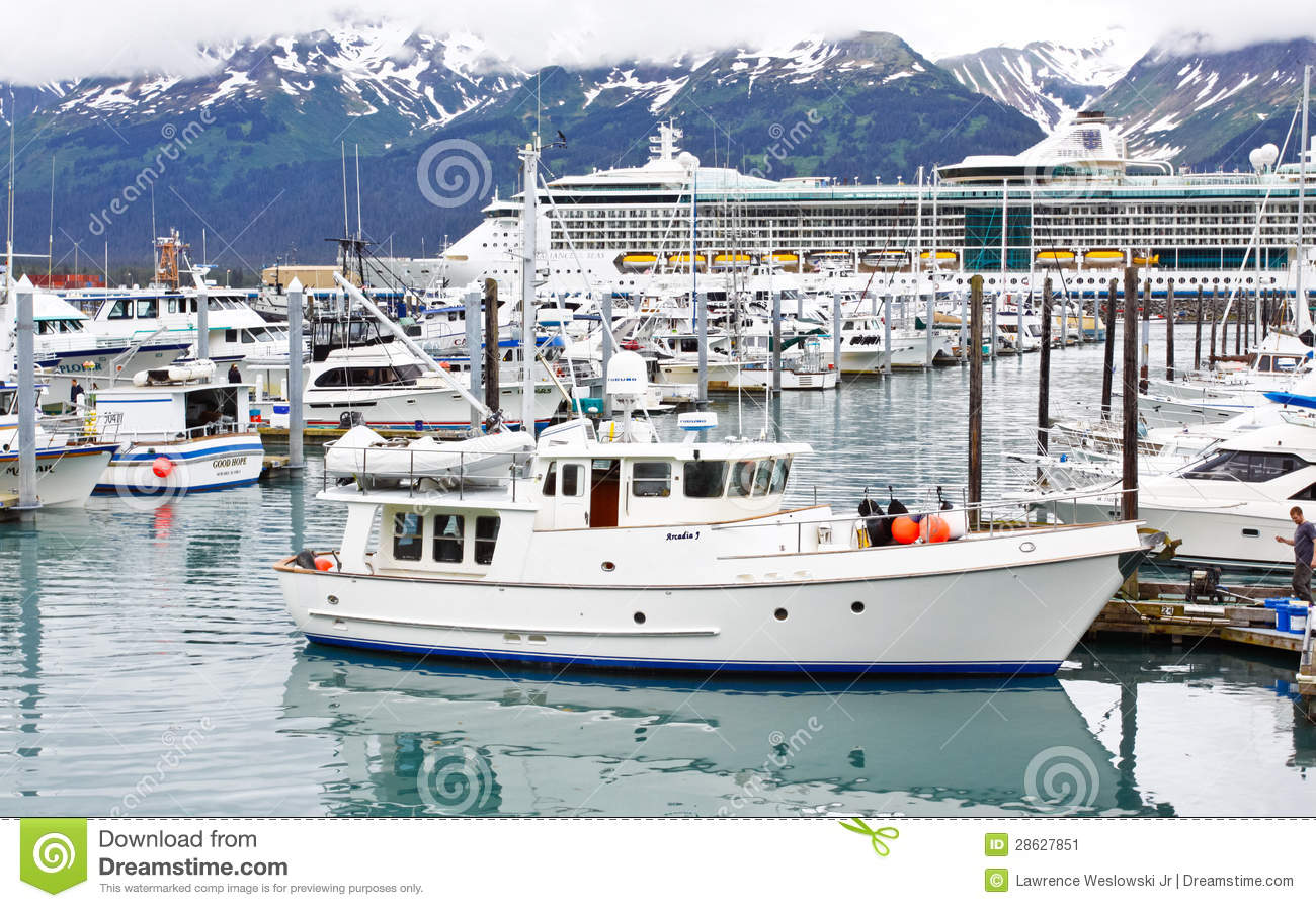 Alaska Seward Small Boat Harbor Cruise Ship Editorial Photo.