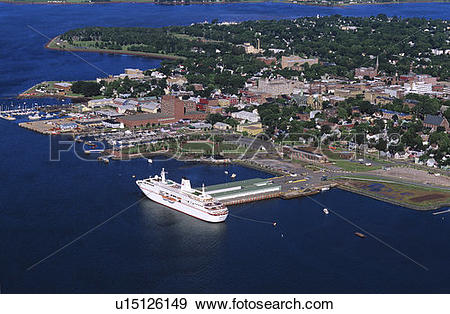 Stock Photograph of Aerial of Deutschland cruise ship docked at.