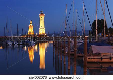 Stock Images of Germany, Bavaria, Swabia, Lindau, View of harbour.