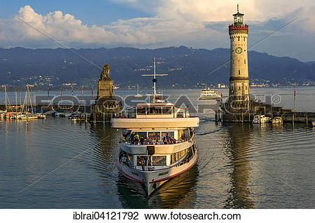 Stock Photo of Bavarian Lion, New Lighthouse, Harbor Entrance.