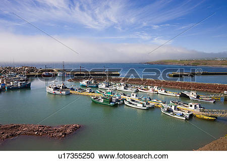 Stock Photography of Fog lifting off St. Brides Harbour.