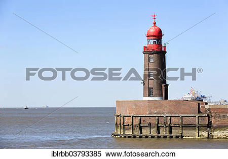 """Stock Image of """"Lighthouse Nordmolenfeuer, Geeste mouth, Weser."""