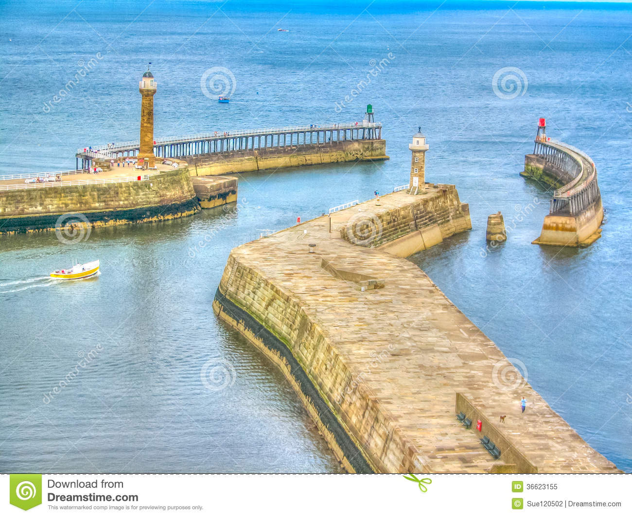 Whitby Harbour Walls Royalty Free Stock Photo.