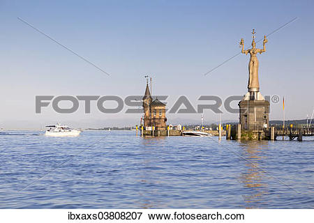 """Picture of """"Harbour entrance of Konstanz with the Imperia statue."""