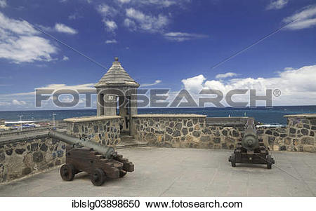 """Stock Photography of """"Old cannons on the port fortress, harbour."""