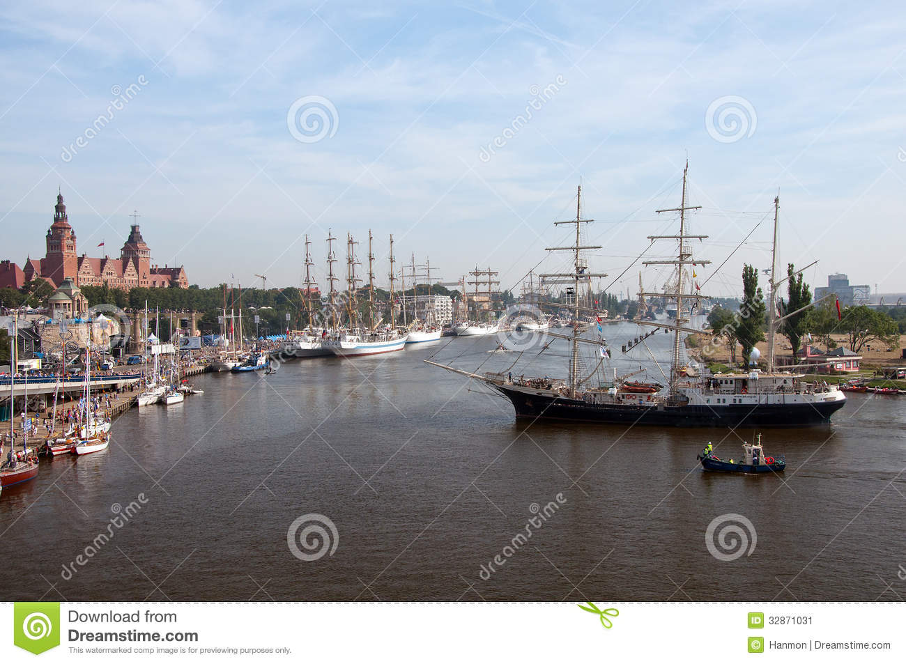 Panorama Of Szczecin Harbour During Festival Editorial Photo.
