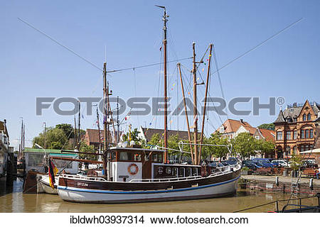 """Stock Photo of """"Historical ship, Museum Harbour, Leer, East Frisia."""