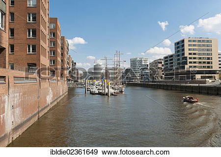 """Stock Photograph of """"Am Sandtorkai, HafenCity with the harbour."""