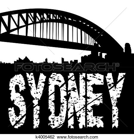 Clip Art of Sydney harbour bridge grunge k4005462.