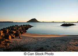Picture of Calm harbour view to Mount Maunganui, New Zealand.