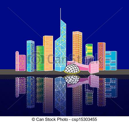Stock Illustrations of Cartoon Hong Kong victoria harbor night.