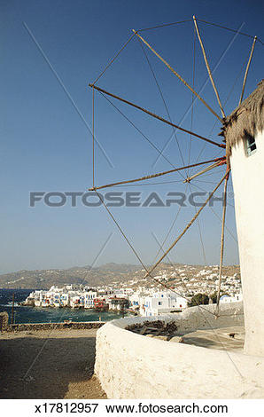 Picture of Greece, Mykonos town, boats in harbour, view from Lower.