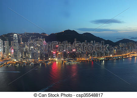 Stock Photography of Hong Kong harbour view at ICC.