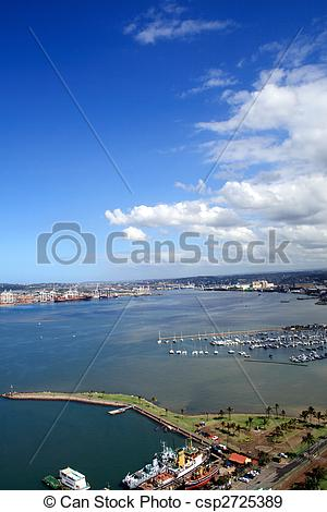 Stock Photographs of overhead harbour view.
