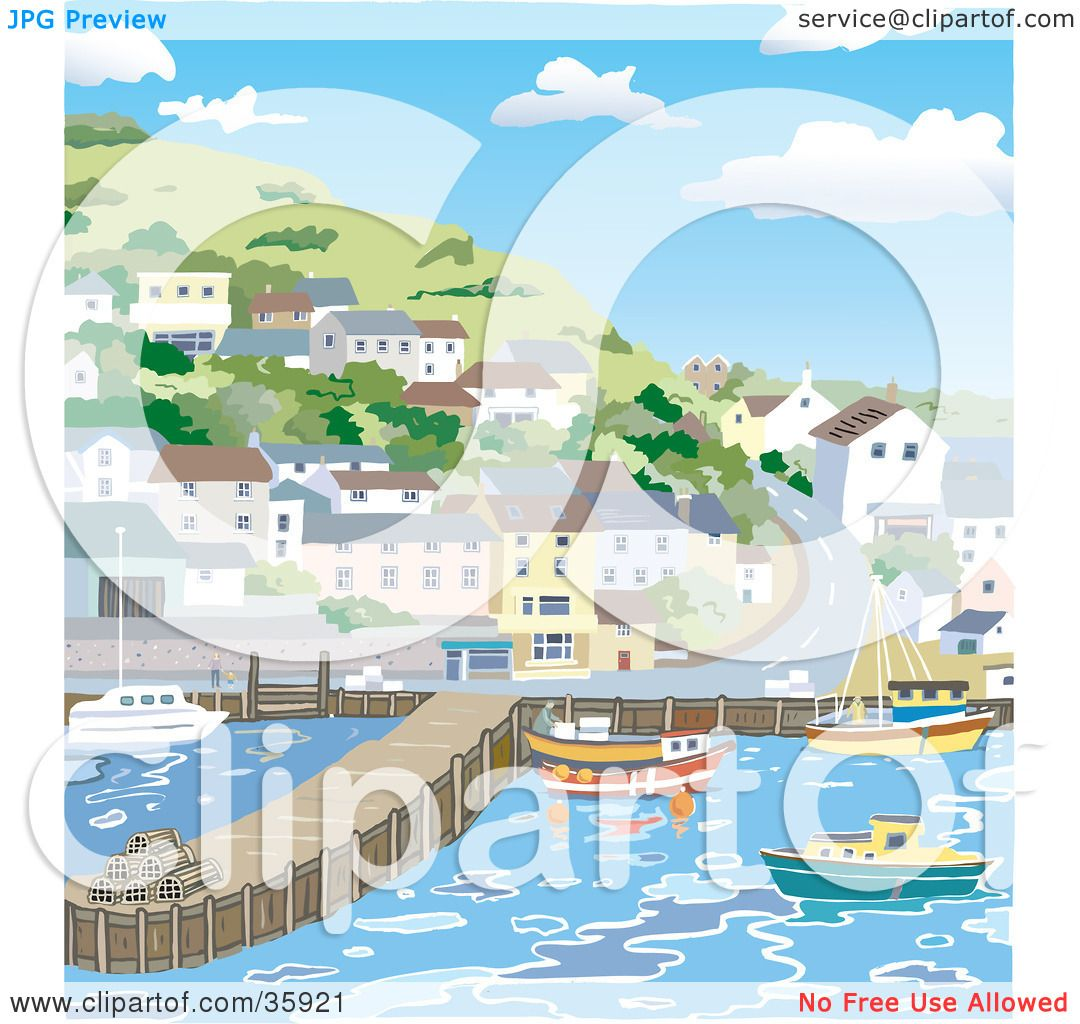 Clipart Illustration of a Coastal Town With Homes On A Hill.