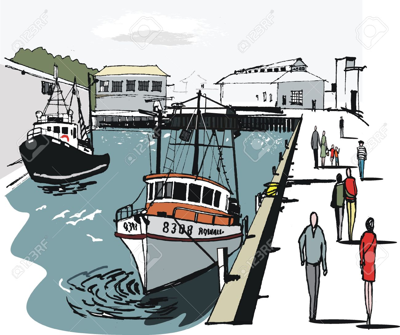 Vector Illustration Of Wellington Boat Harbor, New Zealand Royalty.